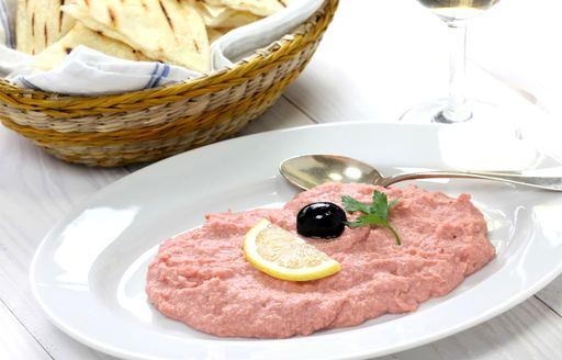 taramasalata served with pitta bread in Greece
