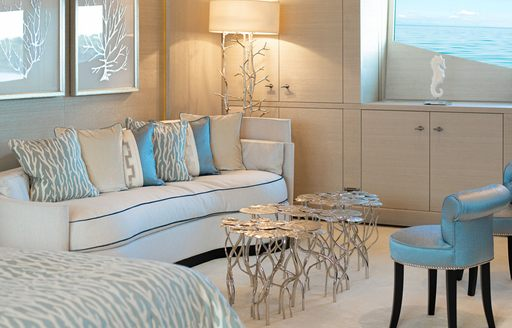 lounge area adjacent to master suite on luxury yacht spirit