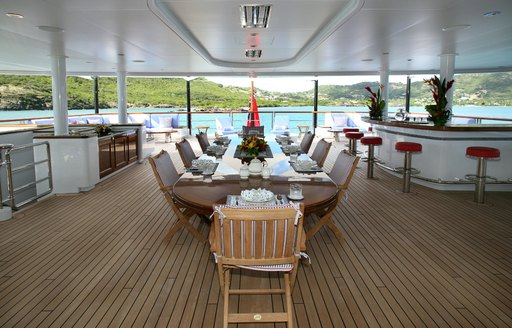 outdoor dining and bar on board luxury yacht 'Northern Star'