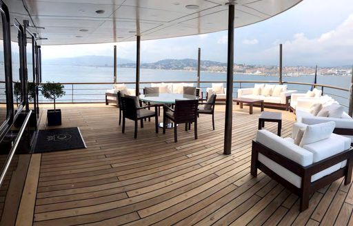Comfortable seating on deck of Superyacht CHAKRA