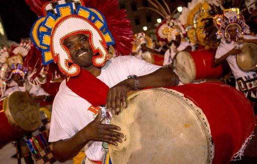 musician with Goatskin drum at junkanoo carnival in the Bahamas