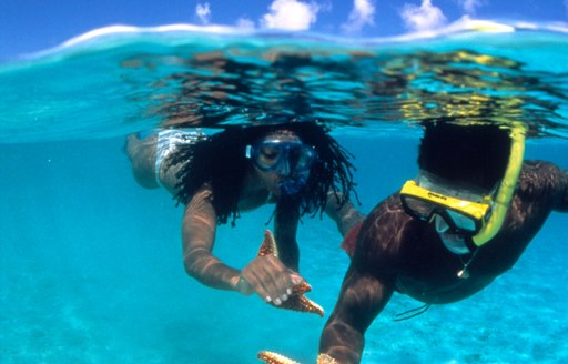 Charter Guests snorkeling in BVI