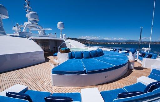 Sunbeds on superyacht queen miri