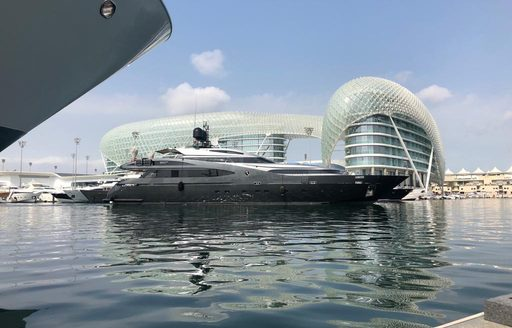 luxury yacht BABYLON arriving at yas Marina for Abud Dhabi Grand Prix 2019 where it will anchor trackside to watch the races