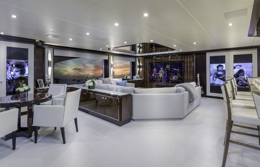 Rock n' Roll inspired styling in the skylounge of motor yacht 'King Baby'