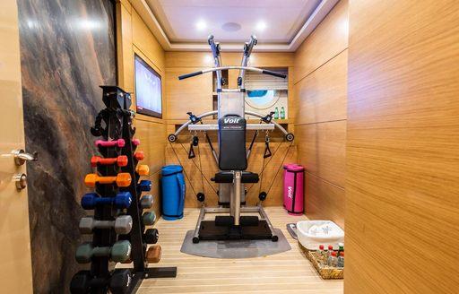 Gym facilities on luxury sailing yacht ARESTEAS