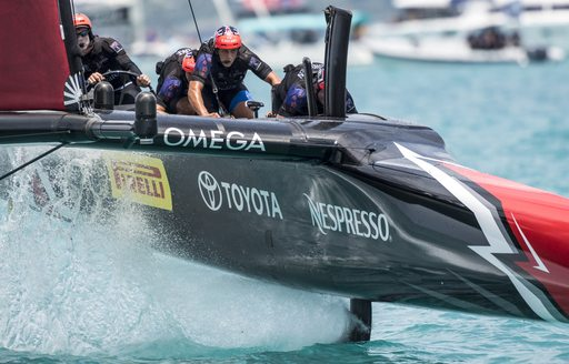 close up of Emirates Team New Zealand in action in the America's Cup match 2017