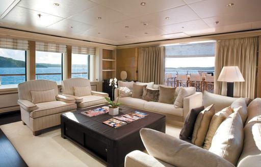 sociable lounge in the main salon of motor yacht Odessa