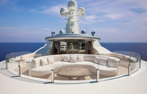 seating area on the forward section of the sundeck aboard motor yacht KIBO