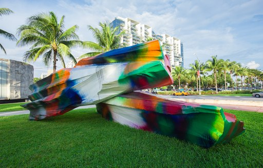 colourful sculpture in Collins Park, South Beach, for Art Basel Miami