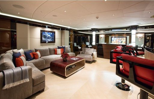 Modern furnishings and fixtures on board superyacht 'Excellence V'