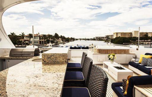 Sun deck of luxury yacht CHARISMA