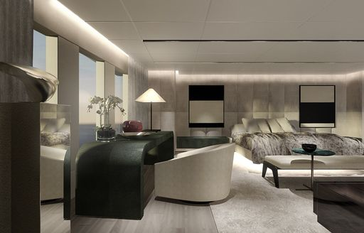 rendering of serene master suite on board luxury yacht OURANOS