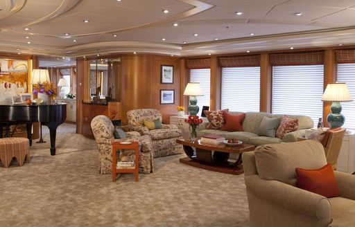 luxury yacht OASIS's salon with piano
