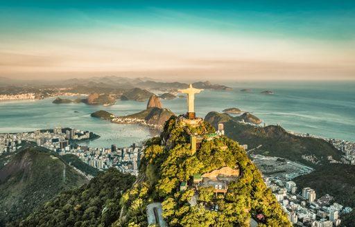 Aerial view of Botafogo Bay from high angle, Rio De Janeiro, Brazil