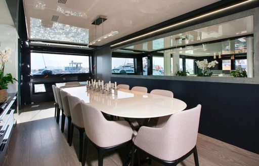 Dining room on board the luxury charter yacht TORTOISE