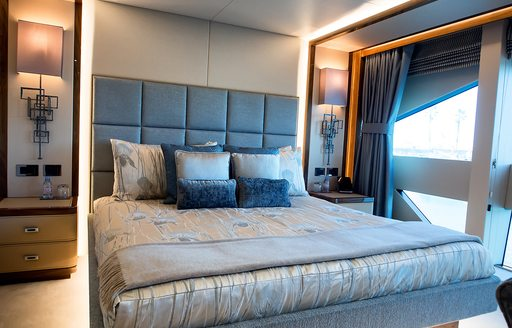 tranquil master suite aboard charter yacht Princess AVK