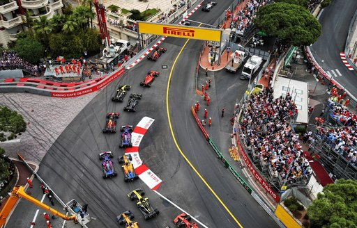 Aerial shot of cars on the track during Monaco F1 Grand Prix