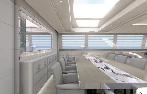 Interior dining area of Mangusta yacht AAA
