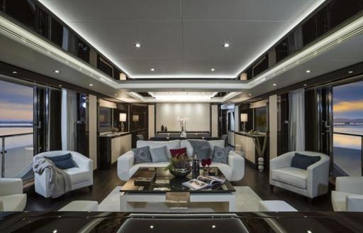 The modern interior of superyacht SESAME