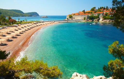 Beachfront at Sveti Stefan in Montenegro