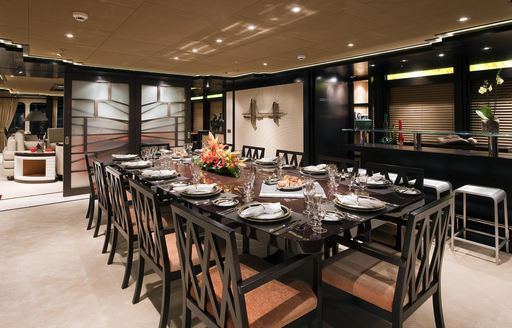 Interior dining table on yacht Trident