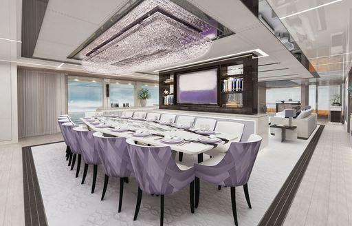 formal dining salon superyacht tatiana