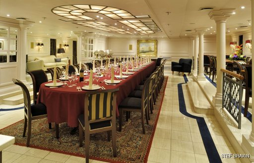 Formal dining onboard MY Christina O