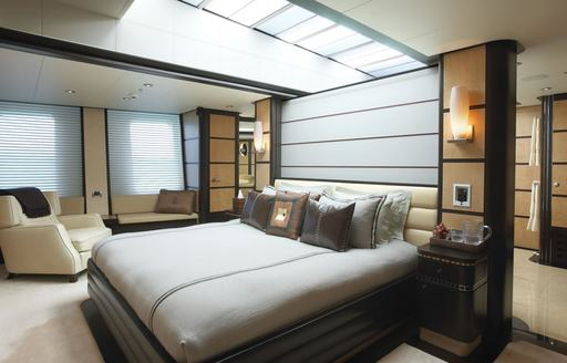 skylight about bed in master suite of motor yacht HARLE