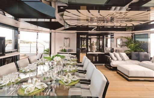 benetti superyacht silver angel dining space