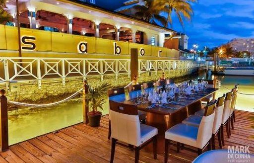 outside seating at sabor restaurant fish dish at Sabor Restaurant in the Bahamas