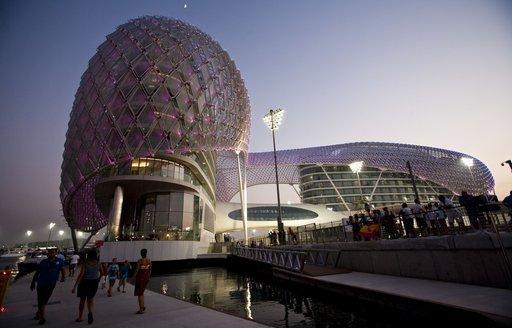 Yas Marina at Abu Dhabi Grand Prix at dusk