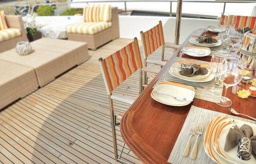 Alfresco dining area on superyacht CONQUISTADOR