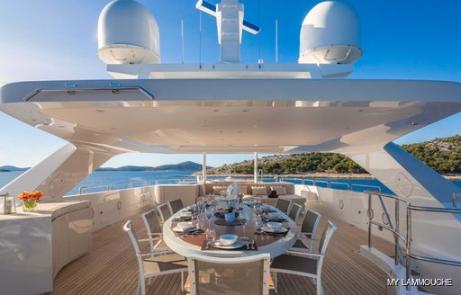 Sundeck dining onboard MY Lammouche