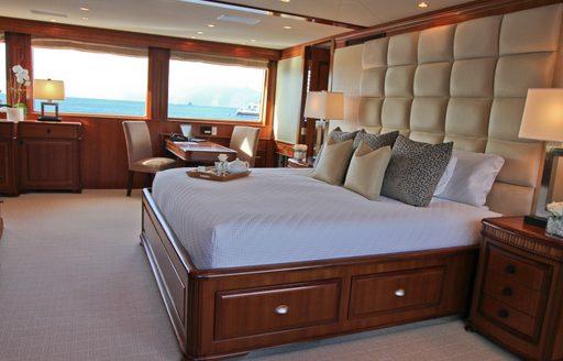 full-beam master suite on board superyacht M4