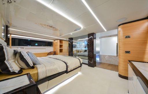 full-beam master suite on board superyacht 'Ghost II'