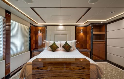 warm and welcoming sleeping quarters aboard motor yacht Party Girl