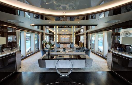 The modern black and white furnishings on board Sunseeker superyacht 'Take 5'