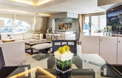 Main salon area on board superyacht CHARISMA