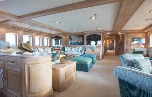 new look main salon with limed oak wall panels on superyacht NERO