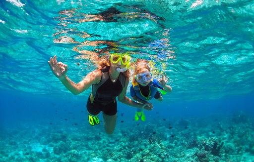 Two people snorkelling in Croatia