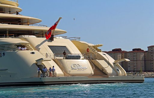 close up of swim platform on motor yacht DILBAR