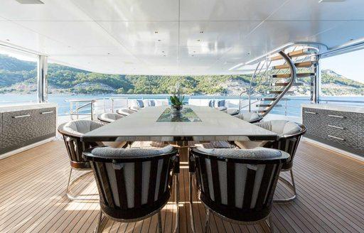 aft deck dining on board superyacht RUYA
