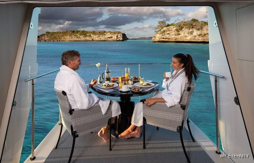 Private terrace in Owner's suite onboard MY Eternity