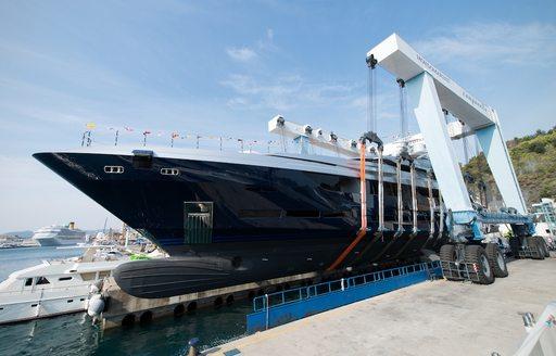 motor yacht SARASTAR is launched at the Mondo Marine headquarters in Savona