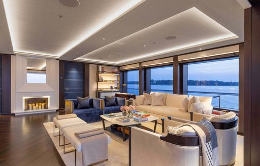 main salon and lounging area on motor yacht lunasea