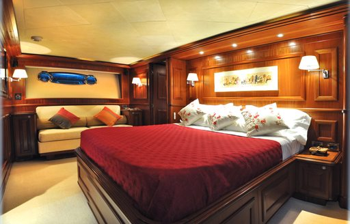 Owner's suite on board charter yacht  CONQUISTADOR