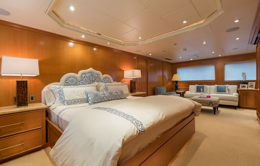 Motor yacht FOUR WISHES's master suite after refit