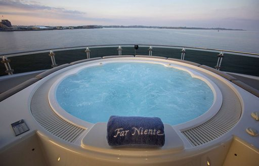 Jacuzzi pool on sundeck of charter yacht Far Niente