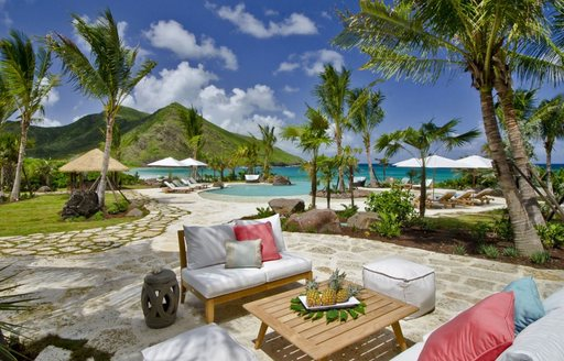 seating area at new Christophe Marina in st kitts